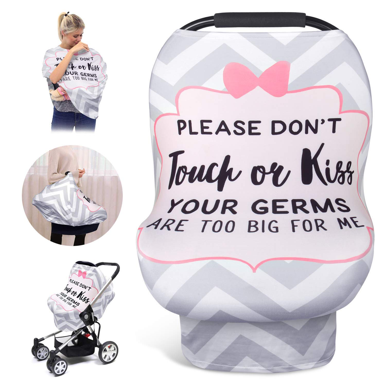 Nursing Cover for Baby Breastfeeding, Car Seat Covers for Babies, Stretchy Newborn Car Seat Canopy, Soft Breathable Infant Stroller/Shopping Cart/High Chair Cover, Boys and Girls Shower Gift