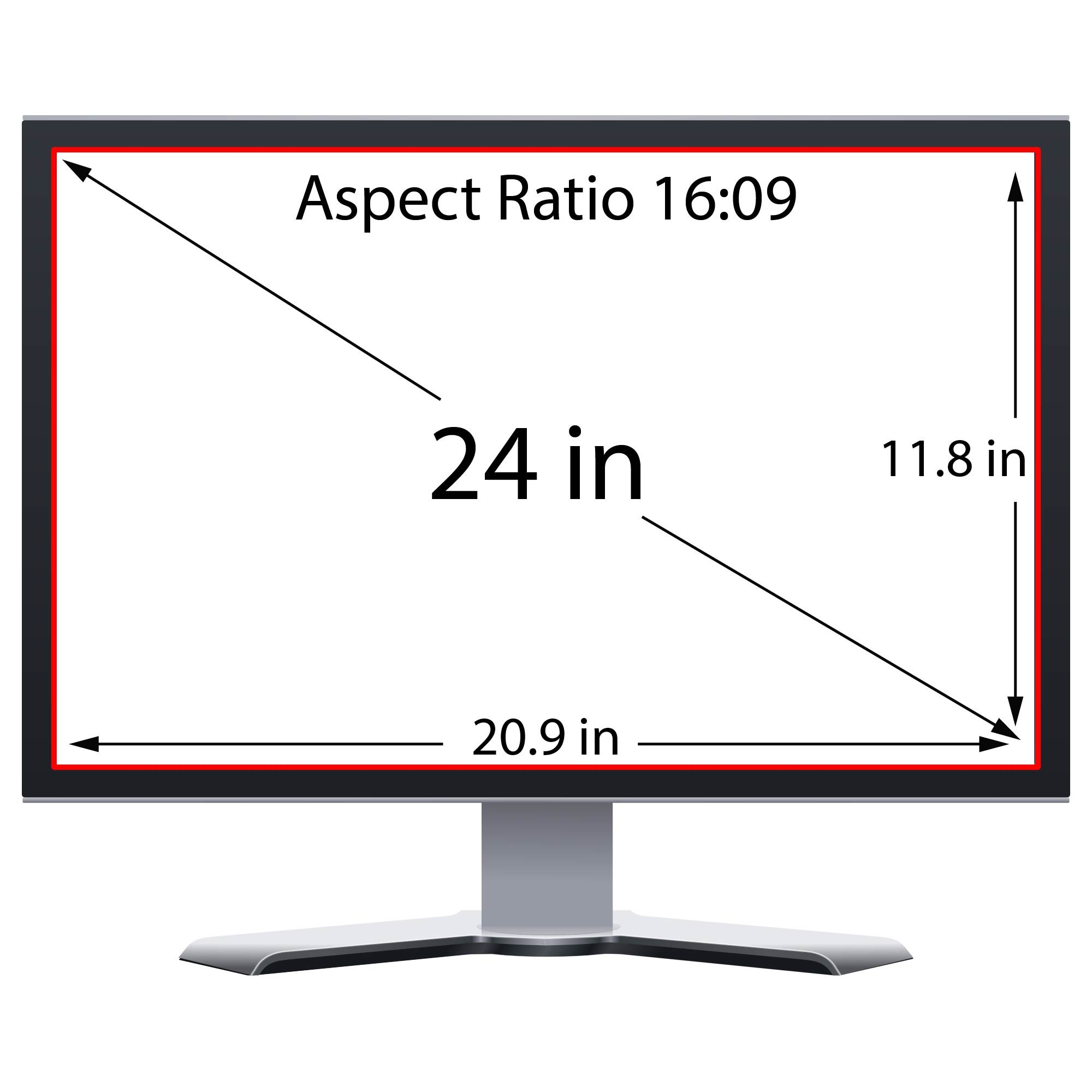 Privacy Screen Filter and Anti Glare for 24 Inches Desktop Computer Widescreen Monitor with Aspect Ratio 16:09 Please check Dimension Carefully