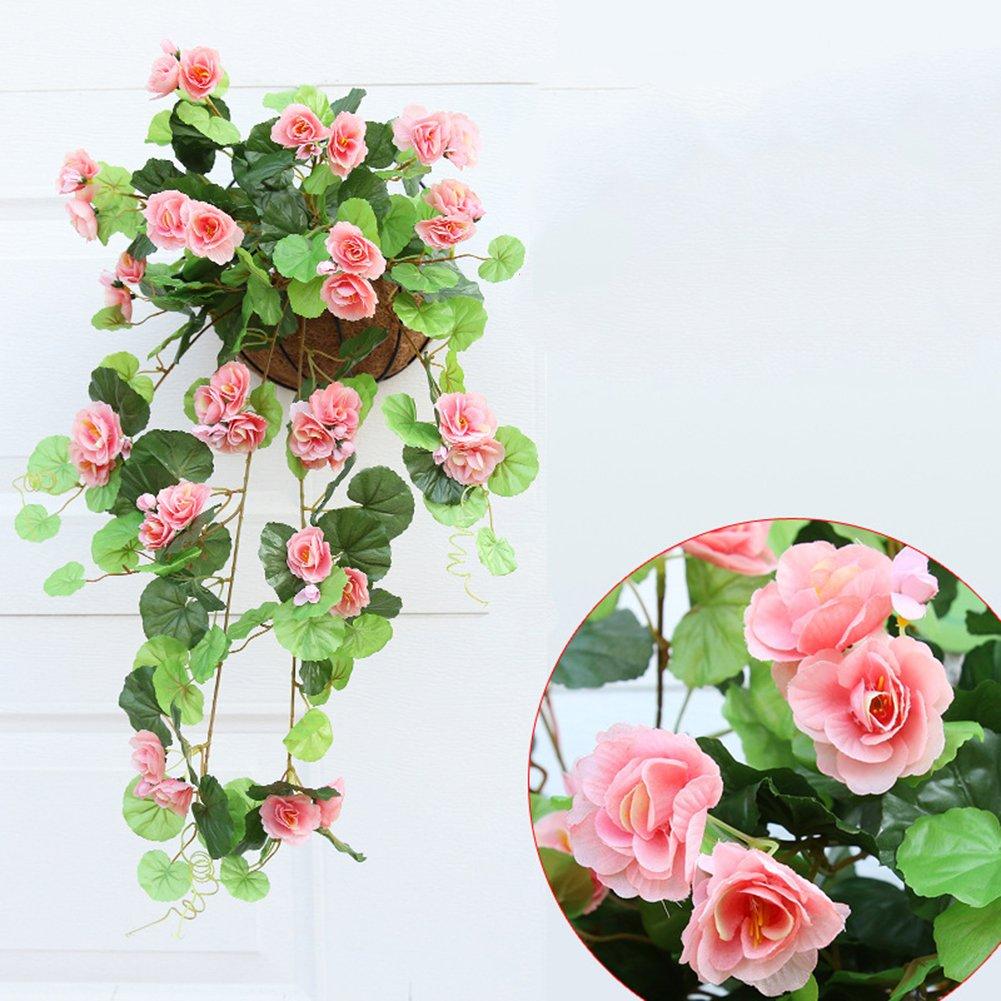 Lopkey Artificial Rose Hanging Basket Decorative Silk Plant,Champagne
