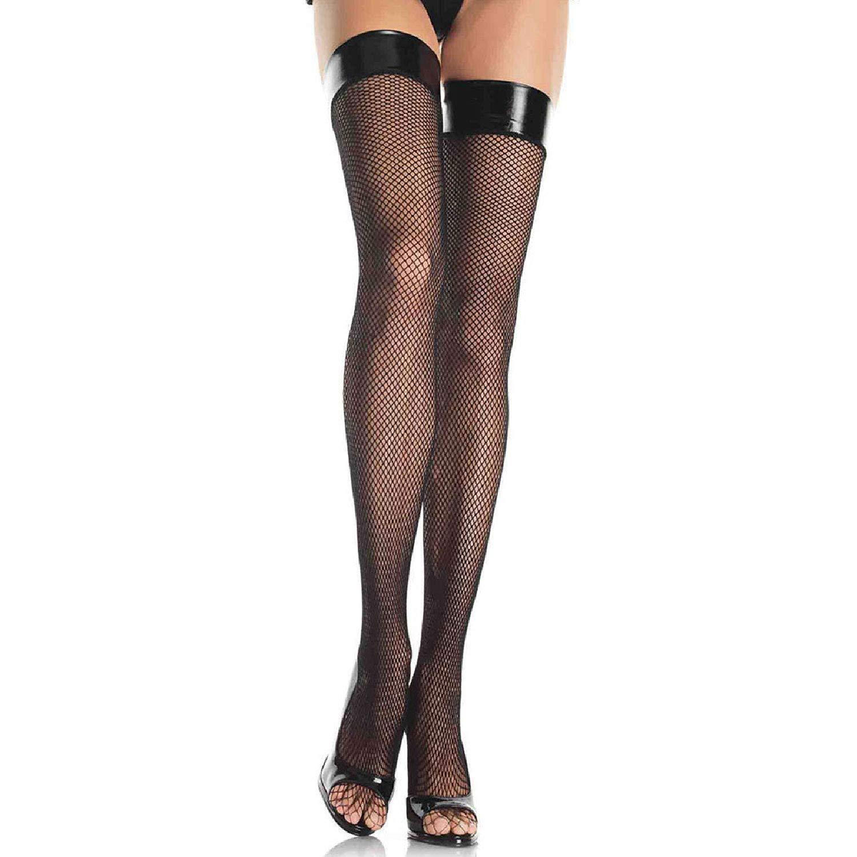 378762ee2 Leg Avenue Womens Vinyl Top Fishnet Thigh Highs  Amazon.ca  Clothing    Accessories