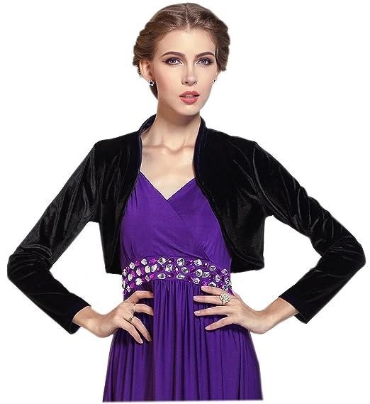 25f2b186ff Medeshe Women Long Sleeve Velvet Open Front Cardigan Cropped Bolero Shrug ( Black