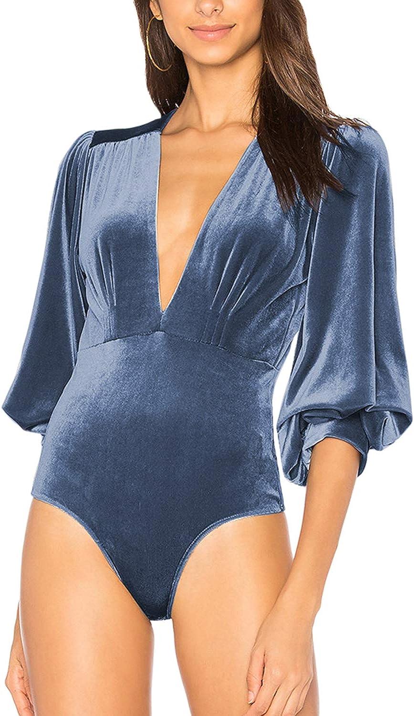 Women Pullover Velvet Jumpsuits V Neck Lantern Sleeve Bodysuits