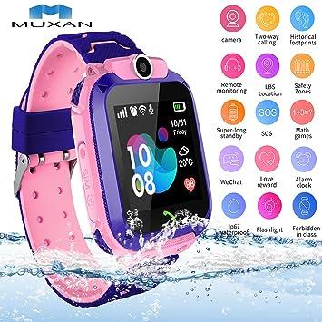 MUXAN Kids GPS Tracker Smartwatch Reloj de Pulsera Inteligente Impermeable IP67 con SOS Reloj Despertador Reloj Digital Antorcha de cámara Juegos para ...