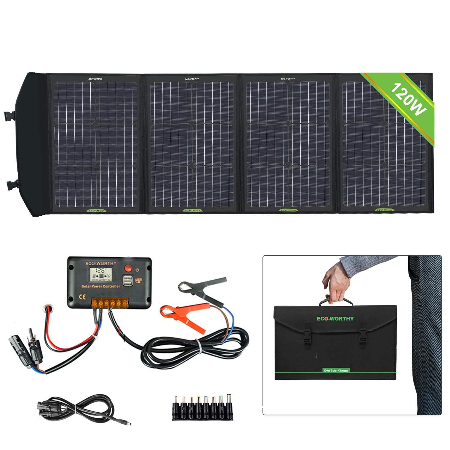 ECO-WORTHY 120W Foldable Solar Panel kit with 20A LCD Charger Controller with USB Port for Portable Generator/Power Station/Battery Bank/USB Devices Mobile Phone Laptop by ECO-WORTHY