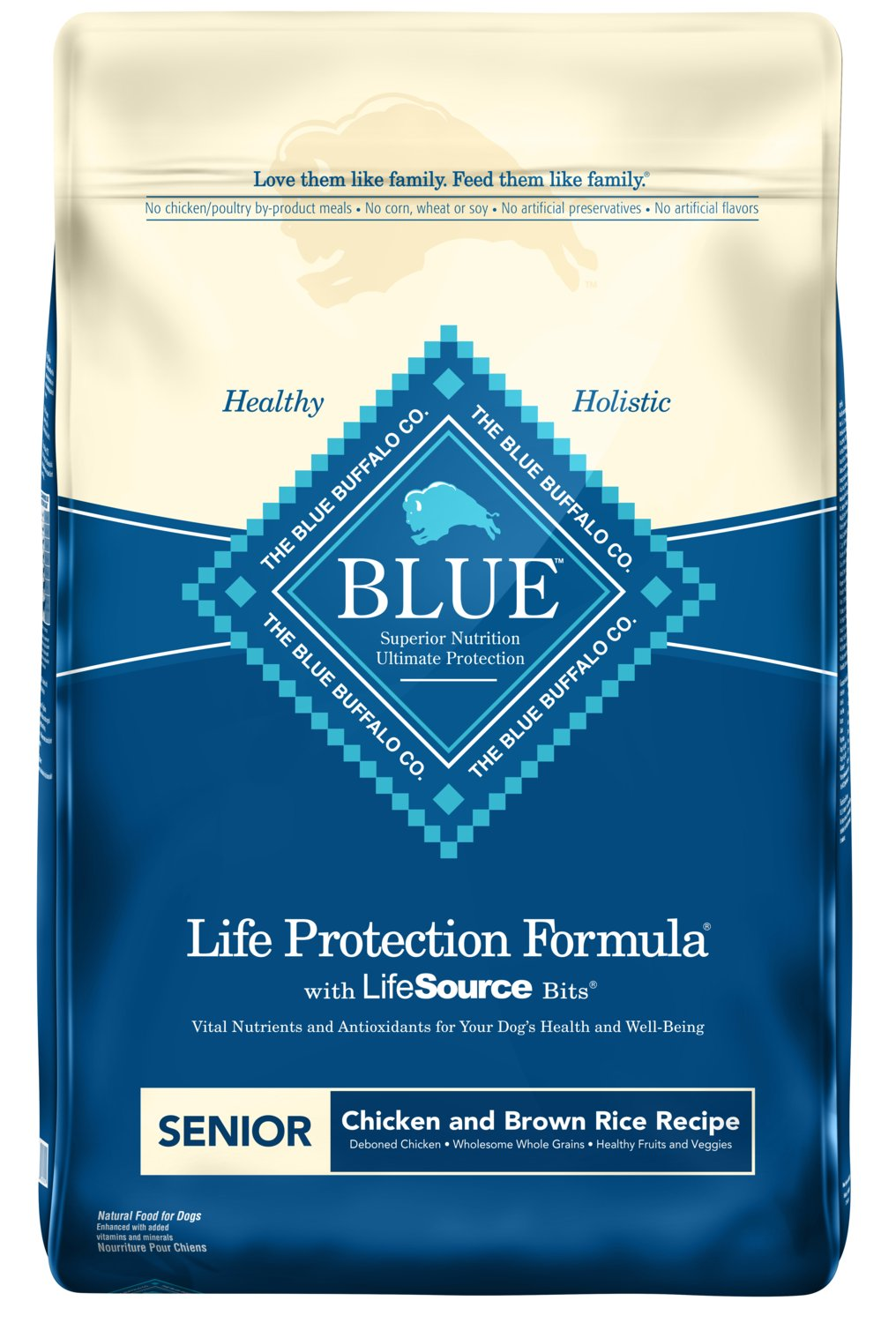 Blue Buffalo Life Protection Formula Senior Dog Food Natural Dry Dog Food for Senior Dogs Chicken Brown Rice 30 lb. Bag