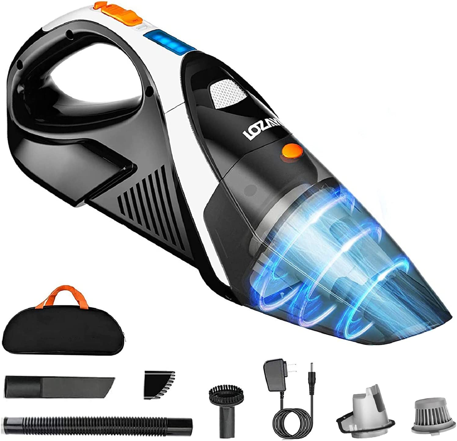 Handheld-Vacuum-Cordless Portable-Cleaner Lightweight Powerful-Wireless Rechargeable:100W 9kpa Cyclonic Suction Home and Car Vac li-ion Battery Quick Charge with LED Light for Pet Hair Brush (Black)