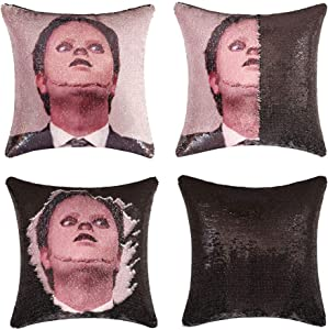 Jasen Funny Sequins Pillow Mermaid Couch Pillows Custom The Office Nicolas/Face Off Dwight & John Reversible Sequins Pillowcase Sequins Throw Pillow Cover