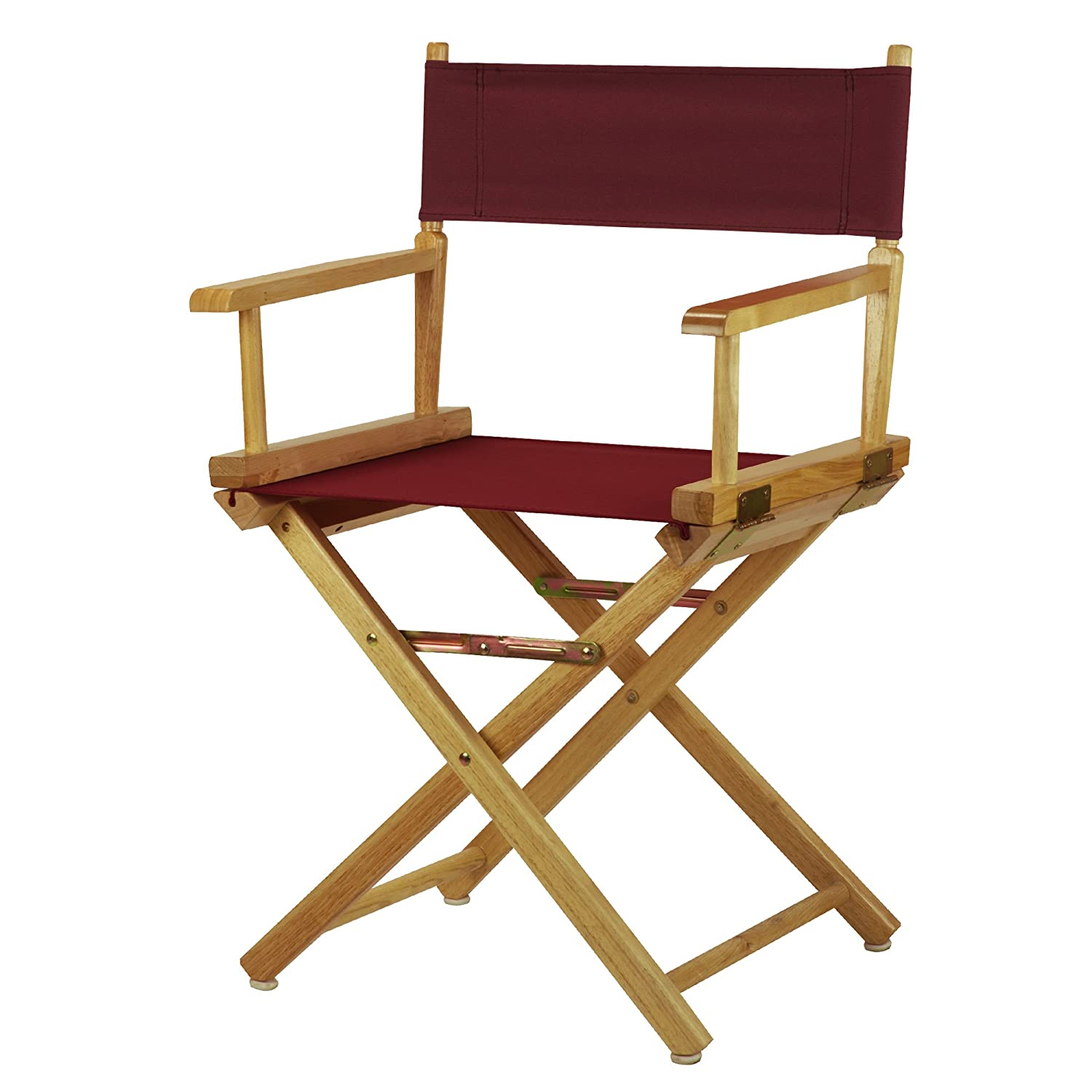 Burgundy 18-Inch Casual Home 30-Inch Director Chair Natural Frame, Black Canvas