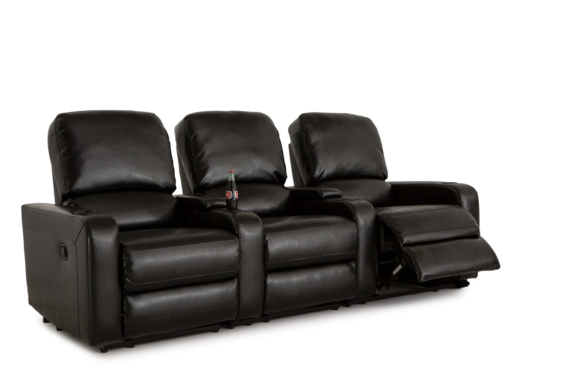 Klaussner Twilight Home Theater Seating Manual Reclinable Bonded Leather Row of 3 with Storage and Cupholders Black
