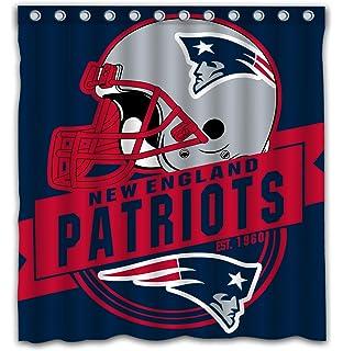 Felikey Custom New England Patriots Waterproof Shower Curtain Colorful Bathroom Decor Size 66x72 Inches