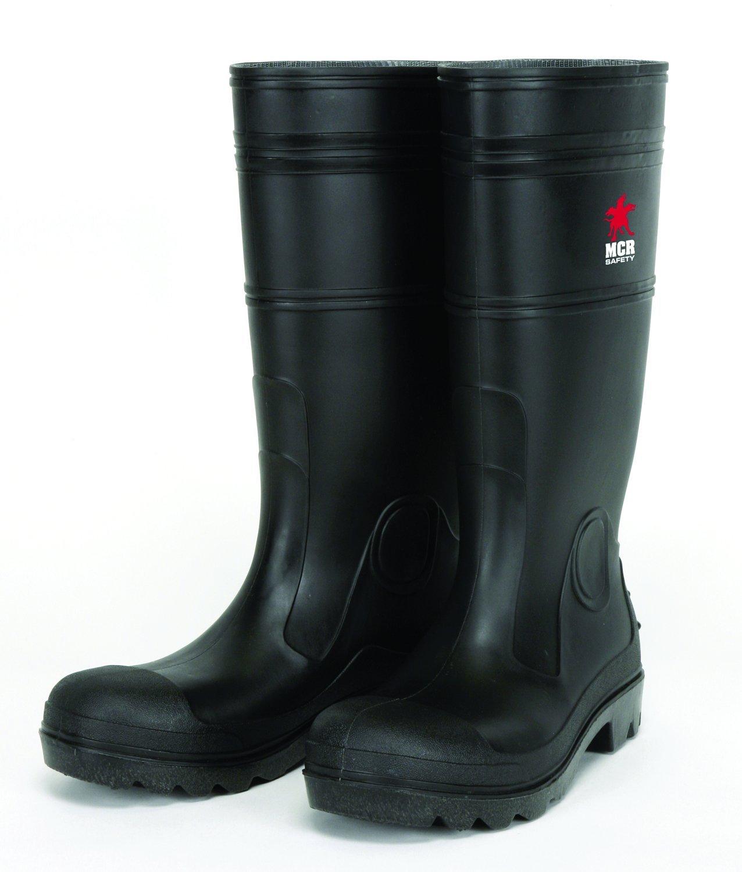 MCR Safety PBS1209 Waterproof PVC Men's Knee Boot with Steel Toe, Black, Size 9, 1-Pair
