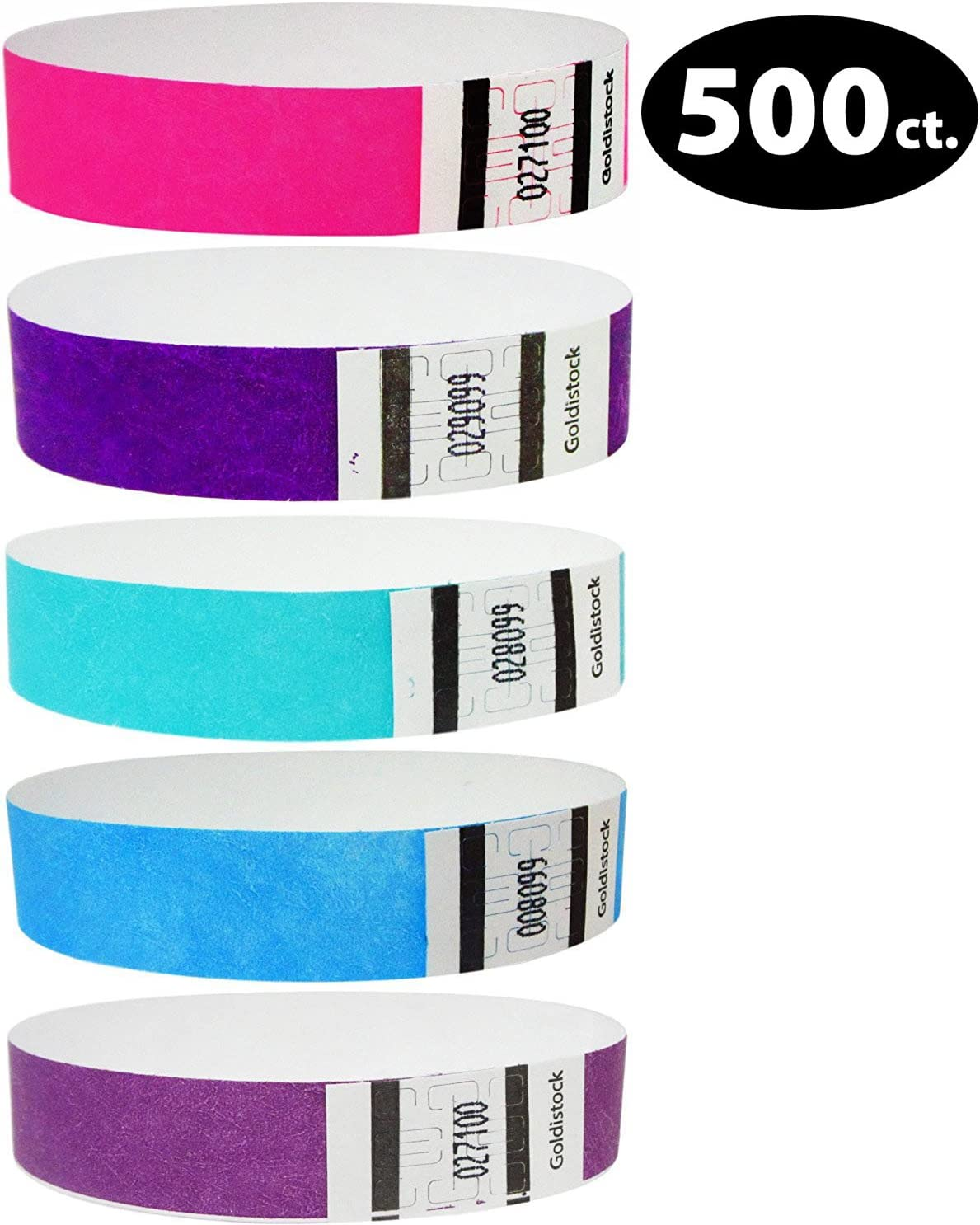 500 Pack Neon Purple 3//4 Tyvek Wristbands for Events Tyvek Wristbands