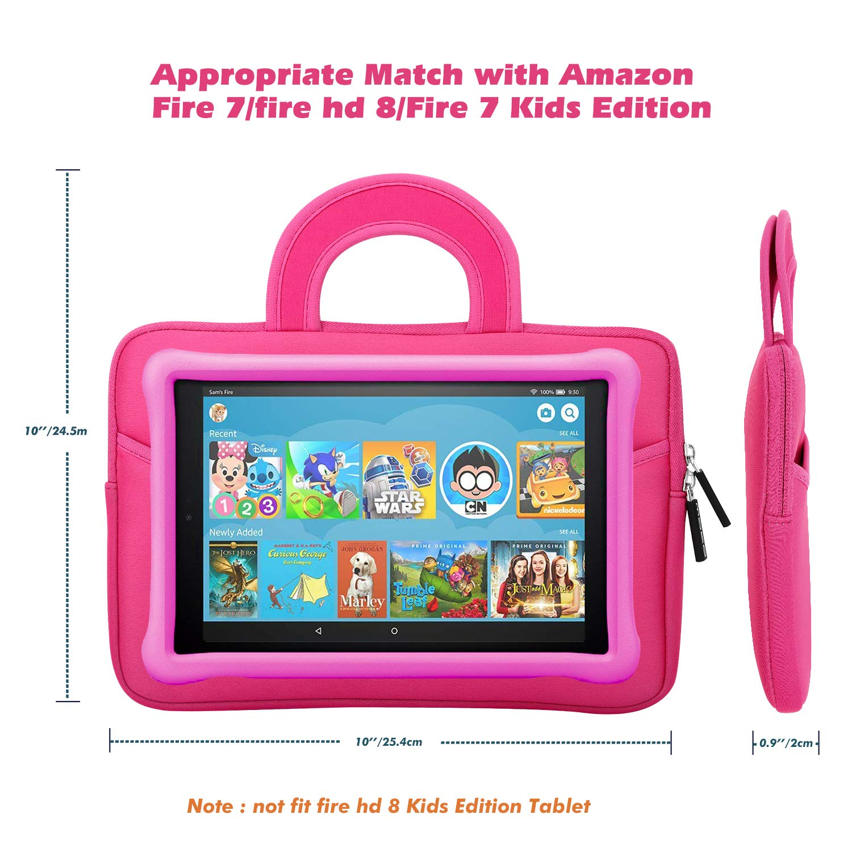 Dinosaur Pink Kindle E-reader Fire 7 Kids Edition 2017 Kindle Oasis 2017 Portable Neoprene Case Bag for Fire HD 8 MoKo Sleeve for 7//8  Tablet Fire 7 2017