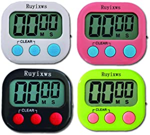Ruyixws 4 Pack Digital Kitchen Timer with Large LCD Display, Loud Alarm, Simple Timers for Cooking Kids Teachers Students. (1 White 1 Green 1 Pink 1 Black)