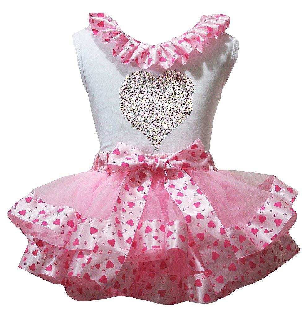 Petitebella White Shirt Pink Valentine Rhinestone Heart Petal Skirt Outfit Nb-8y