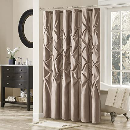 Madison Park Laurel Taupe Shower Curtain, Pieced Transitional Shower  Curtains For Bathroom, 72 X