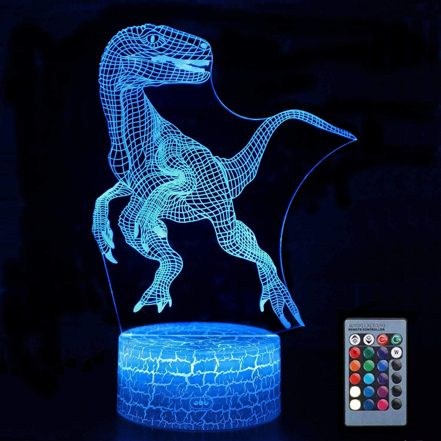 Zoohao 3D Dinosaur Night Light,3D visualization Illusion LED Table Light with Touch Button,ABS Base&Acrylic Flat&USB Charger for Room Decorative or Gifts for Friends/Kids