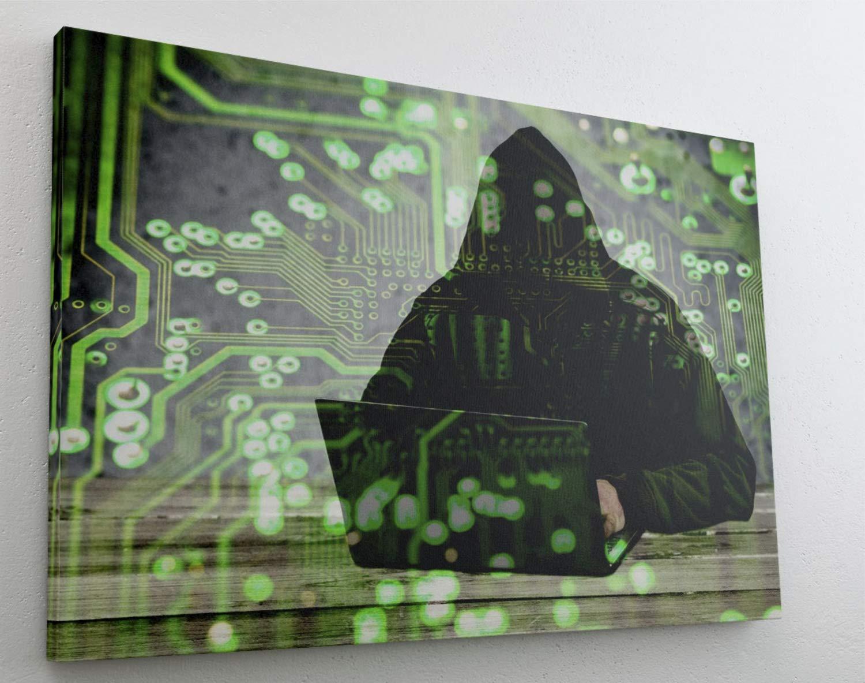 Hacker Computer Code PC Leinwand Bild Wandbild Kunstdruck L0561 Gr/ö/ße 70 cm x 50 cm