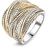 Mytys 2 Tone Intertwined Crossover Statement Ring Wedding Bands Ring for Women Men Gold and Silver Plated Enhancers Ring 18mm Wide
