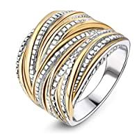 Mytys Silver Gold Plated Band Rings Intertwined Crossover Statement Rings 2 Tone Band Ring for Women Men 18mm