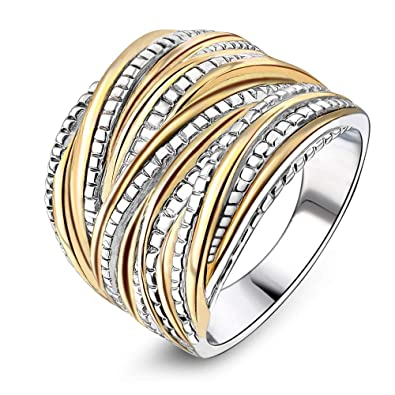 Jewelry & Watches Fine Jewelry Fast Deliver Woman Ring Bangle Design Crossover Jewelry New Gold Plated Size 54