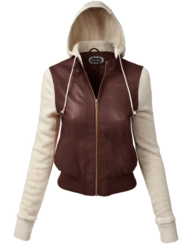Luna Flower Women's Comfortable Junior Sizing Fleece Hoodie Jackets Brown 3X (QJAW155)