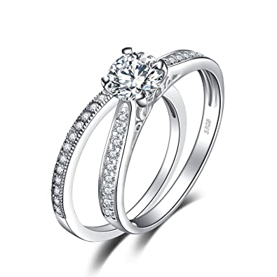 Jewelrypalace Womens 1ct Cubic Zirconia Anniversary Bridal Wedding Band Engagement Ring Sets 925 Sterling Silver Size