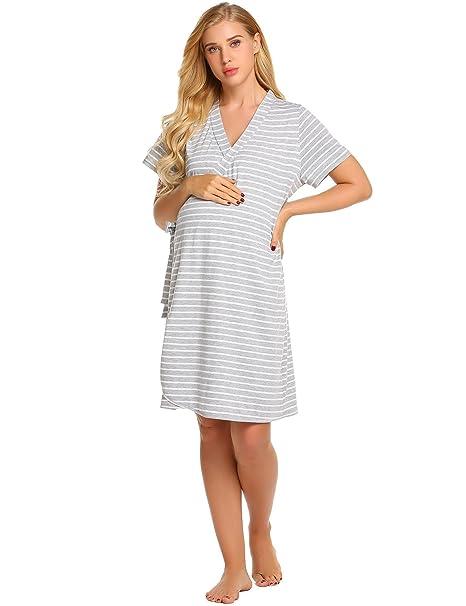 3590885f08c Goldenfox Cotton Striped Nursing Nightdress Women s Maternity Nursing  Nightgown (Gray