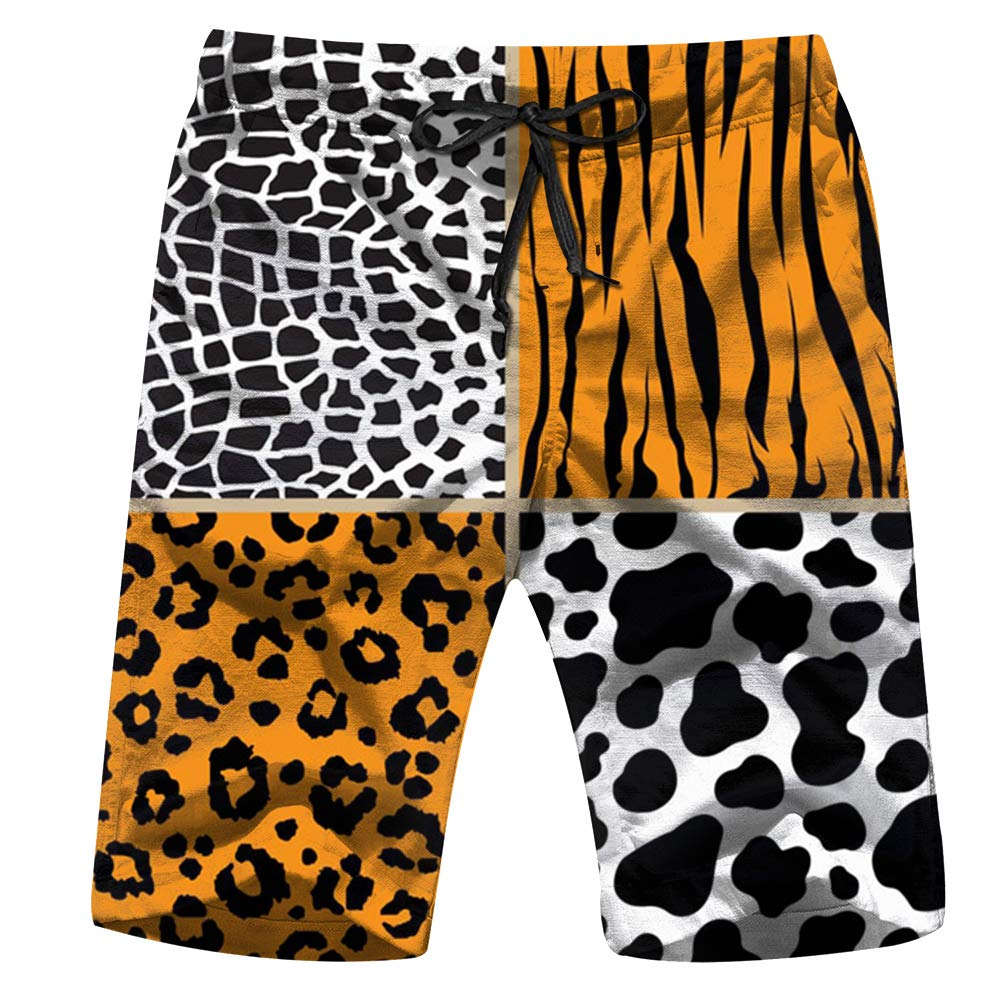 Set Animal Giraffe Cow Safari Mens Swim Trunks Summer Cool Quick Dry Board Shorts Bathing Suit with Side Pockets Mesh Lining