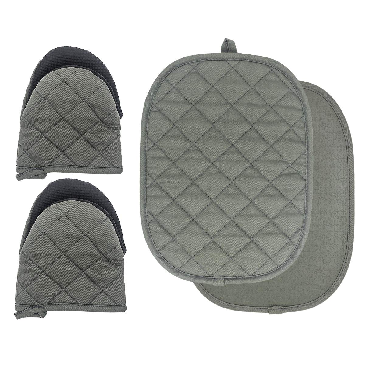 TOPSKY Oven Mitts and Pot Holders Kitchen Aid Heat Resistant Silicone No Slip Pad 12 x 9 and Gloves 7 x 6, ArmyGreen(2pcs Oven Mitts+ 2pcs potholder)