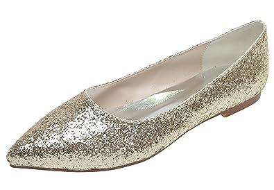 Fashionmore Women s Sparkle Flat Pump Shoes Gold 4.5 US e5d2a5425fe4