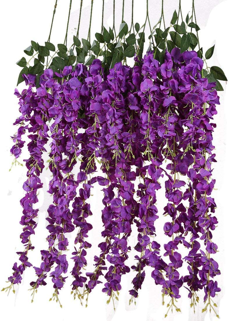 Artificial Silk Wisteria Vine Rattan Garland Fake Hanging Flower Wedding Party Home Garden Outdoor Ceremony Floral Decor,3.18 Feet, 6 Pieces (Purpule-2)