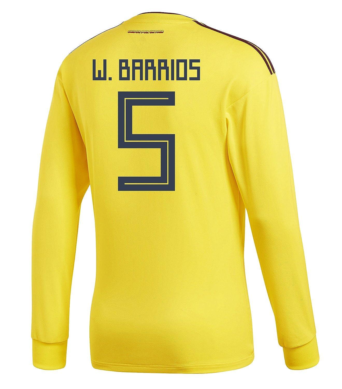 adidas Mens W. BARRIOS #5 Colombia Home Long Sleeve Soccer Jersey World Cup 2018 /サッカー ユニフォーム バリオス 背番号 5 コロンビア ホーム用 長袖 B07B8B7LMZUS X-Large