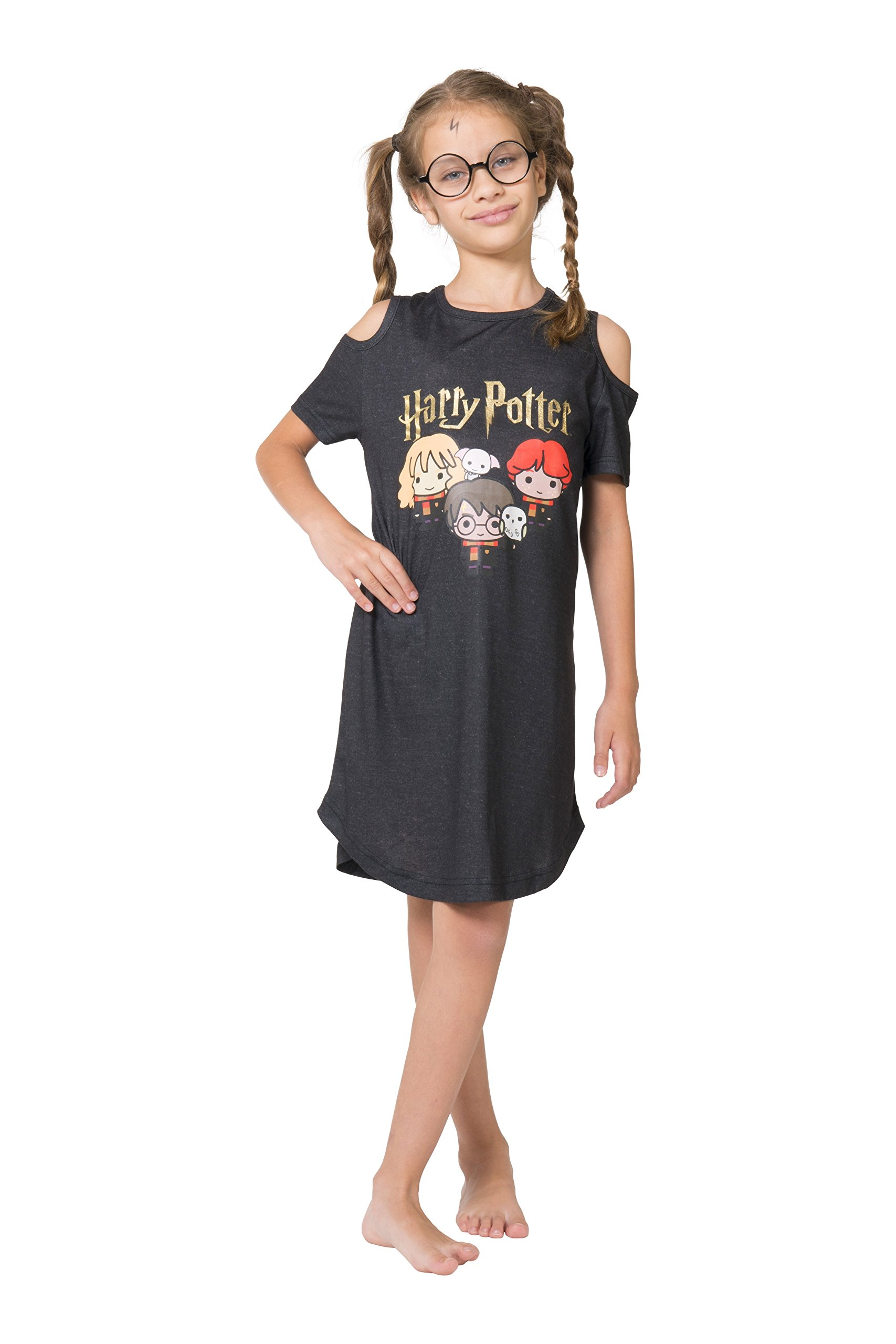 Harry Potter Girls' Big Chibi Art Cold Shoulder Nightgown, Charcoal Gray, 7/8