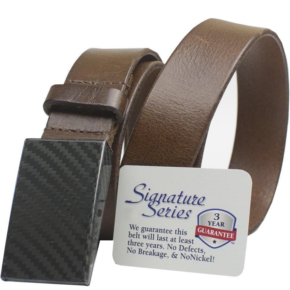 Nickel Smart CF 2.0 Brown Belt Full Grain Leather Belt with Nickel Free Carbon Fiber Beep Free Buckle