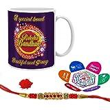 Indigifts Special Strong Bond Quote Printed Mug 330 Ml, Crystal Rakhi, Roli, Chawal & Greeting Card Raksha Bandhan Gifts For Men/Boys
