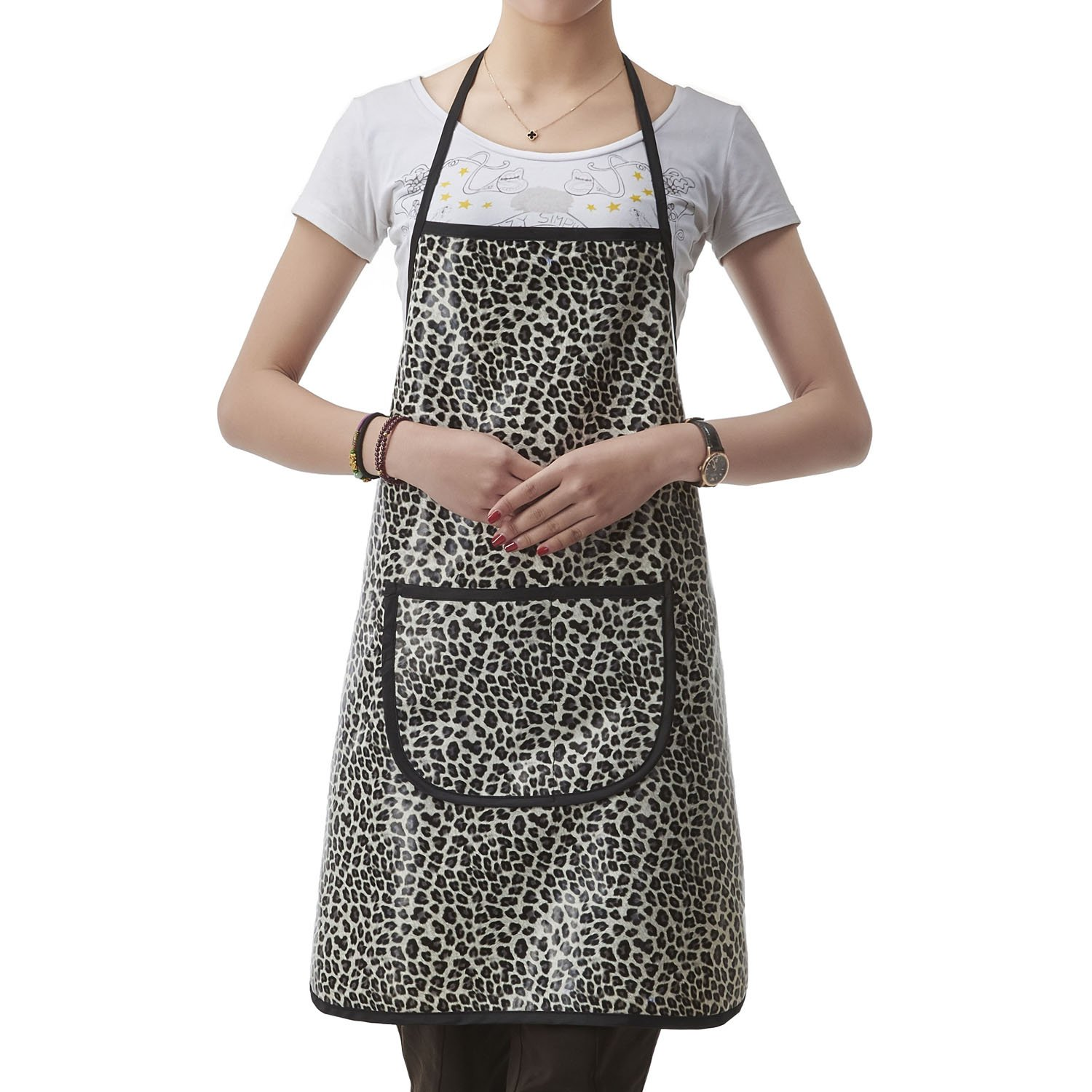Colorfulife Professional Salon Apron Hair Stylist Hairdressing Dyeing Wrap Cape, Leopard Pattern Adjustable Barber Aprons with 2 Pockets (White) beautifulove