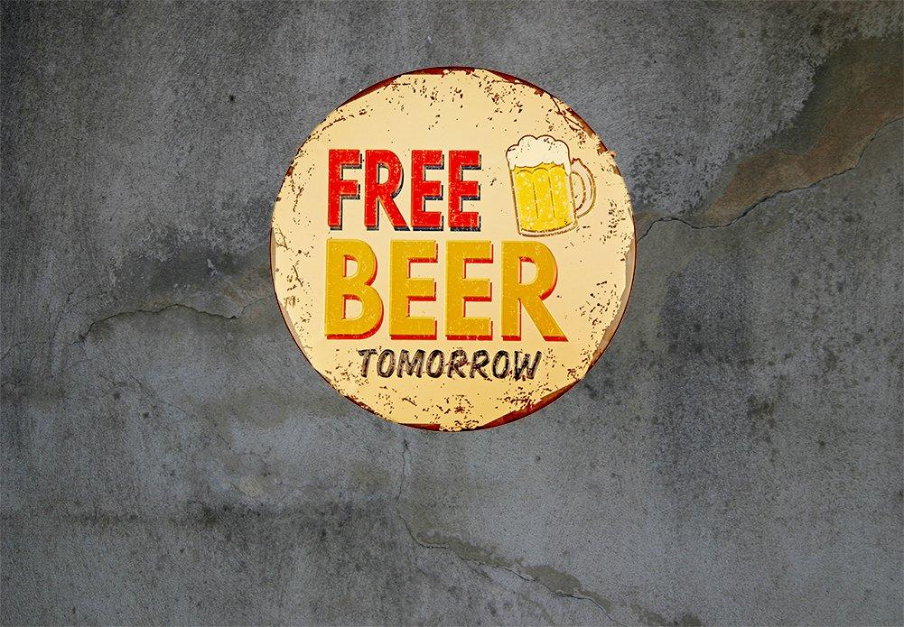 Carteles de chapa Cerveza con fútbol Metal estaño Rústico ...