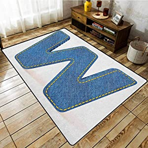 Outdoor Patio Rug,Letter W,Symmetrical Latin Letter Capital W with Blue Jean Pattern Typography Design Print,Extra Large Rug Blue Yellow