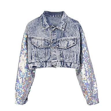 Chiced Fashion Design Punk Style Women Autumn Jacket Coat Sequins Sleeve Women Denim Long Jacket Coat Crop Tops Abrigos Mujer at Amazon Womens Coats Shop
