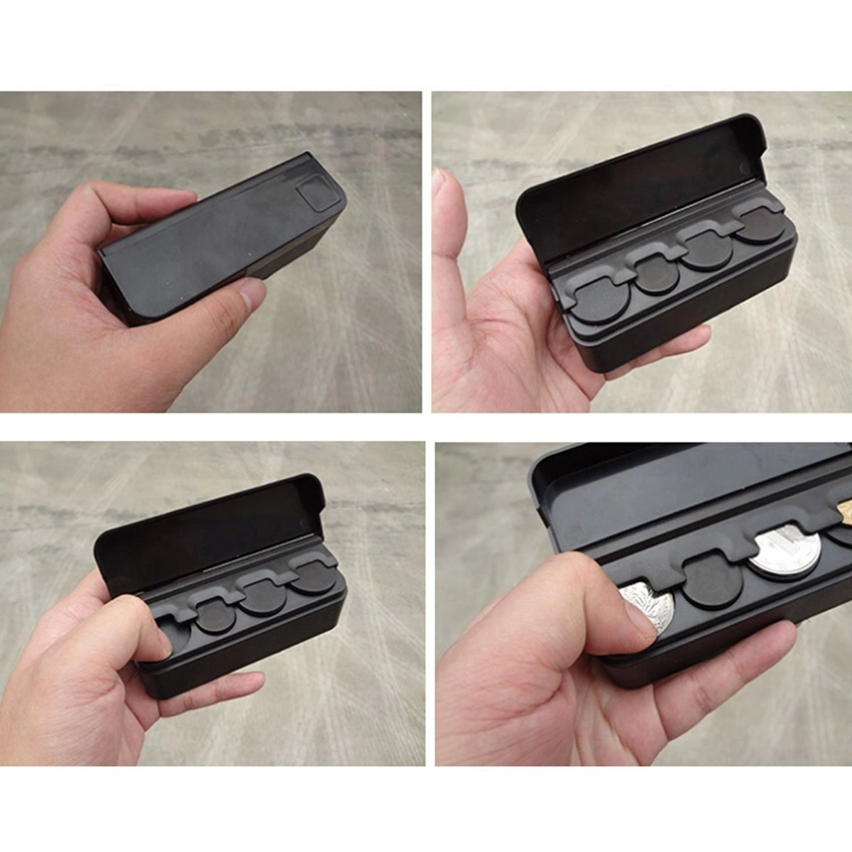 Black Car Coin Holder - Mini Coin Organizer - 4 Slots For Each Coin Type (2 Pack) by LiveOut (Image #4)