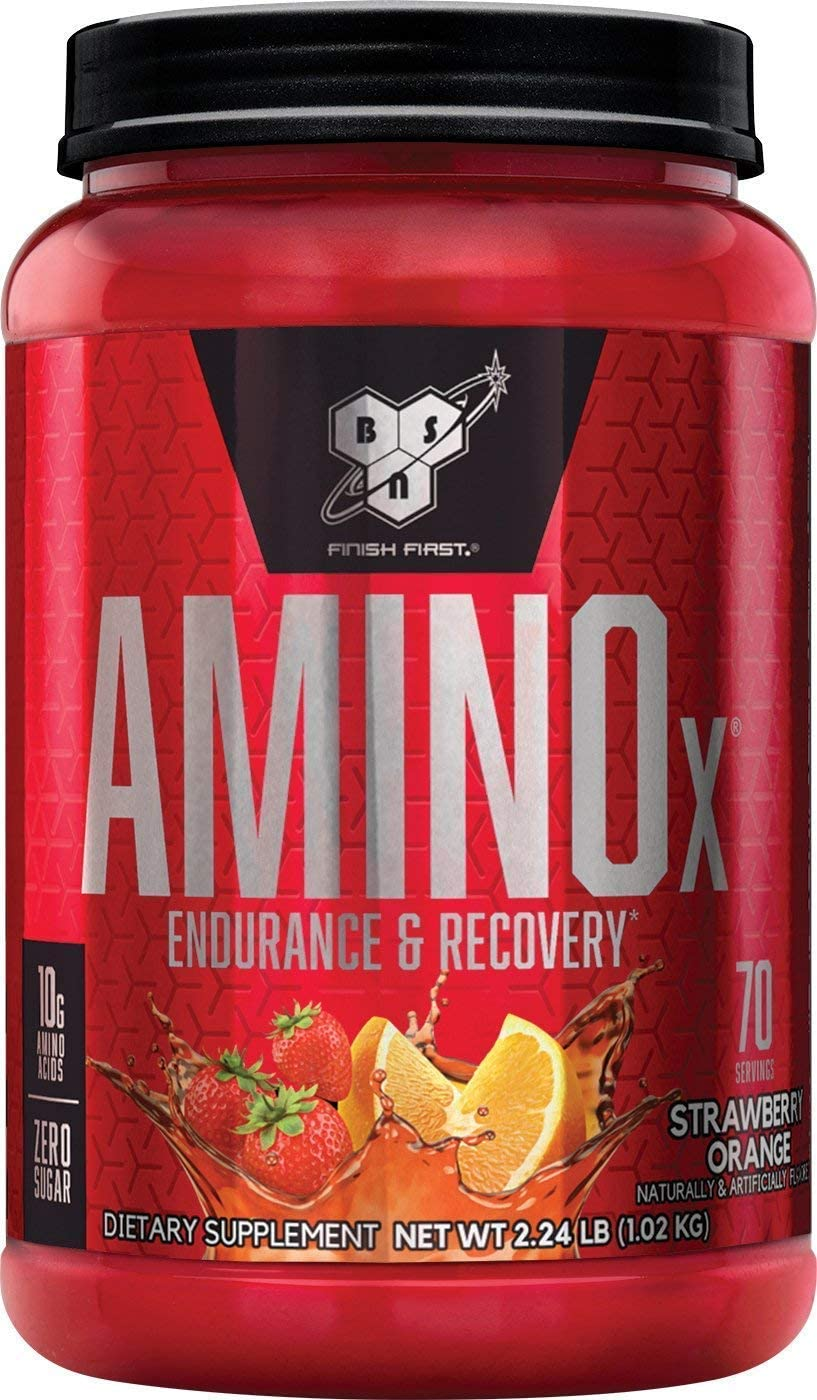 BSN Amino X Muscle Recovery Endurance Powder with BCAAs, 10 Grams of Amino Acids, Keto Friendly, Caffeine Free, Flavor Strawberry Orange, 70 Servings Packaging May Vary
