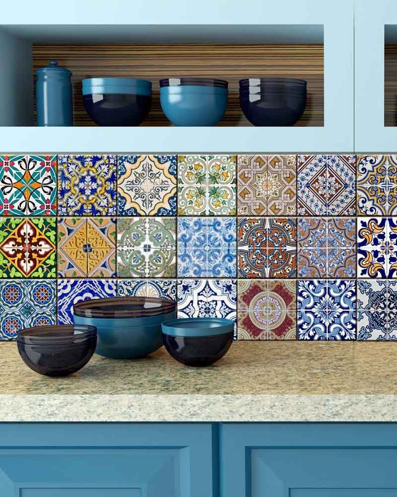 Amazon.com: Tile Stickers 24 PC Set Authentic Traditional Talavera ...