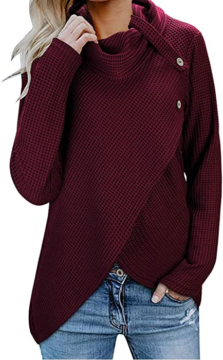 Womens Sweaters Turtle Cowl Neck Chunky Cable Knit Button Wrap Pullover  Sweater Coats a94d6684e