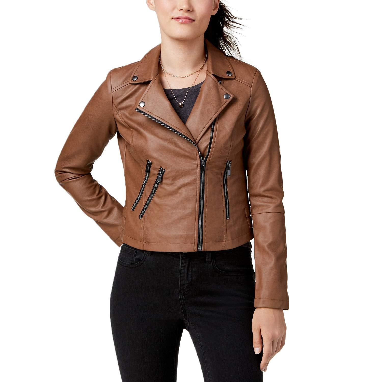 latest releases amazon enjoy bottom price CoffeeShop Juniors' Faux-Leather Moto Jacket (Peanut, Large ...