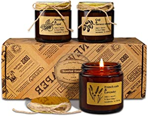 Candle, 3 Scented Candles, Soy Candles Set Long Burning, Vintage Amber Jar Candle, Aromatherapy Candles, Birthday Valentine Thank You Gifts Sets for Women, Relief Stress Essential Oil Scent Candle