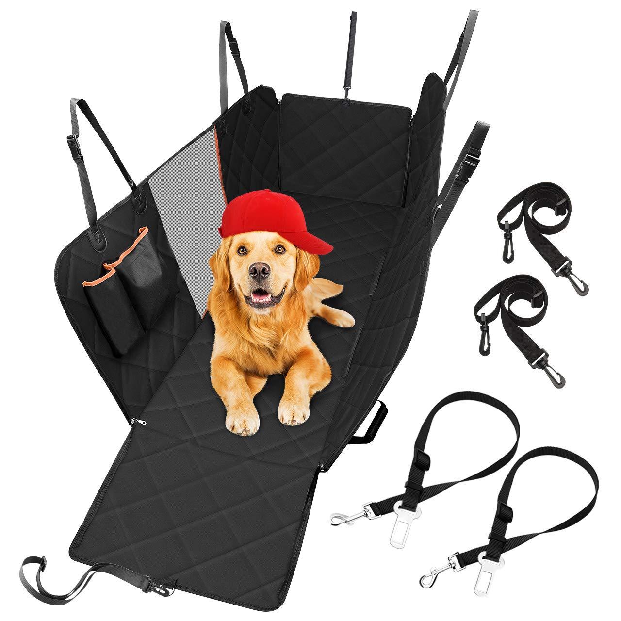 【Dimensione universale】 Coprisedile per cane protezione panchina 147 x 137 cm con finestra visiva in rete in tessuto Oxford 600D cintura di sicurezza//tasche di stoccaggio//ancoraggi per sedile