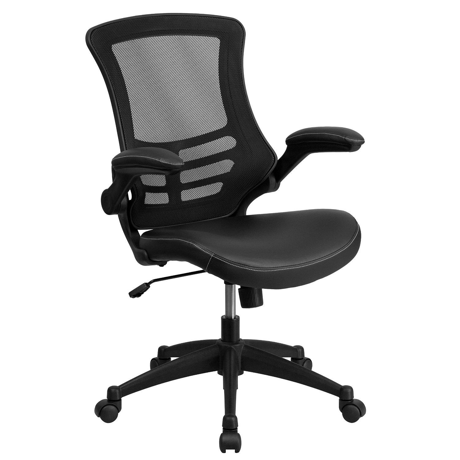 Flash Furniture BL-X-5M-LEA-GG Mid-Back Mesh Chair with Leather Seat and Nylon Base, Black - Set of 2