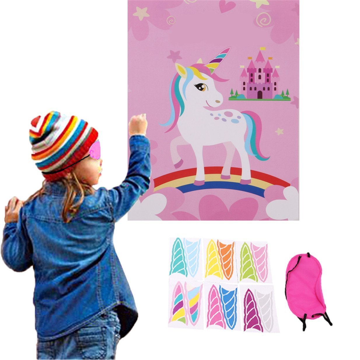 Unicorn Birthday Banner & Pin the Horn on the Unicorn game