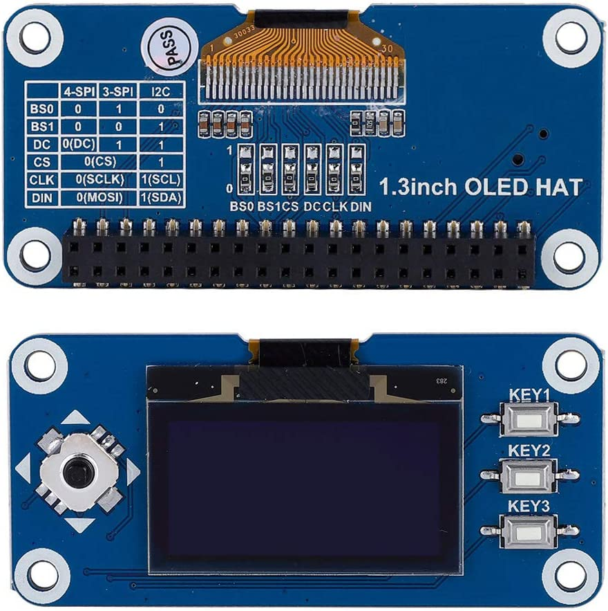 3-Wire and I2C Support for Raspberry Pi 2B//3B//Zero//Zero W 1.3 inch OLED Display HAT Expansion Board 4-Wire OLED Expansion Board